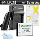 Battery And Charger Kit For Samsung WB50F WB35F WB30F ST150F DV150F ST76 EC-PL120 MV800 MultiView Digital Camera Includes Extended Replacement (1000Mah) BP-70A Battery + Ac/Dc Rapid Travel Charger + MicroFiber Cloth + More