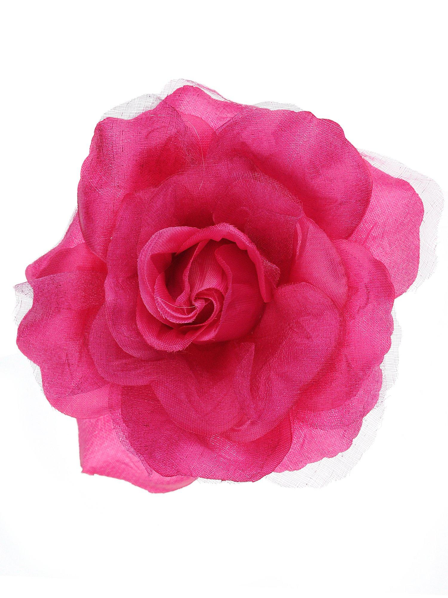 NYFASHION101 Women's Multifunction Rose Flower Sheer Petal Brooch Pin Hair Tie Clip By The Dozen, Hot Pink