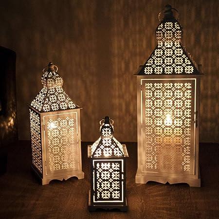 Juego de 3 faroles 33/50/70 cm con asa Jardín Farol portavelas Jardín Iluminación Decoración Metal Blanco: Amazon.es: Hogar