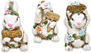 Gift Boutique Spring Garden Decor Table Centerpiece 3 Resin Bunny Decorations Rabbit Animal Statue Sculptures Figurines for Indoor Home Desk Shelf Mantel Outdoor Yard Lawn and Patio Party Favors