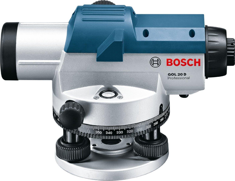 Bosch Professional GOL 20 D Niveau optique avec coffre de transport mire de chantier GR 500 et accessoires tr/épied BT 160