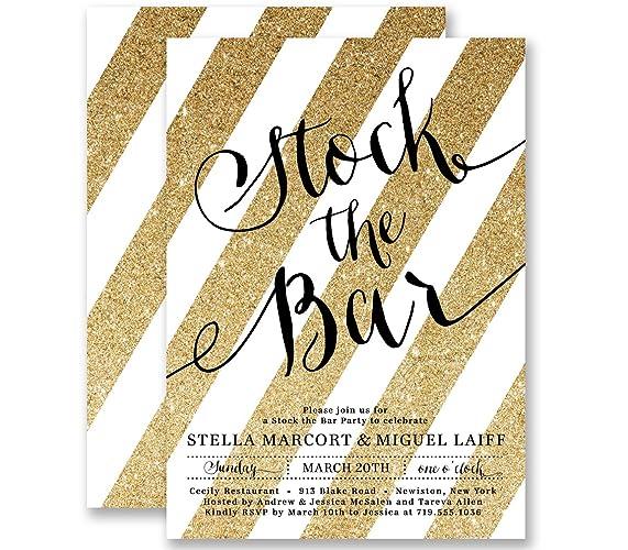 amazon com stock the bar invitations gold striped glitter look