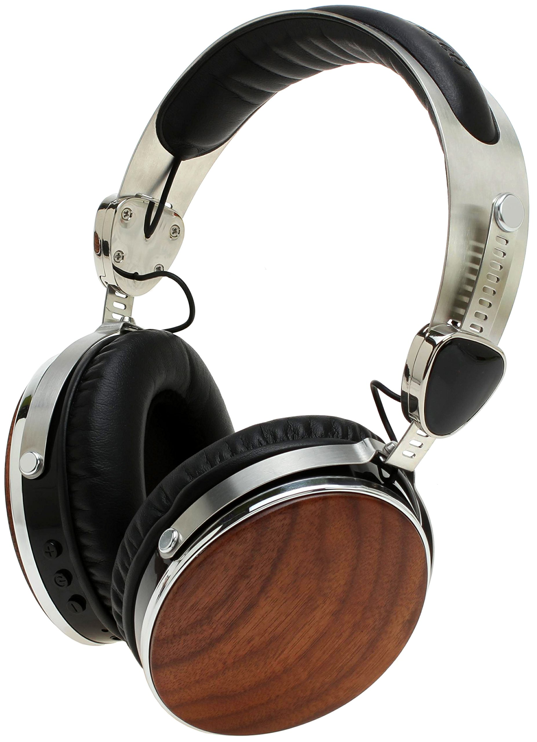 Symphonized Wraith 2.0 Bluetooth Genuine Wood Wireless Headphones with 3.5mm Cable Included for Wired Use (Walnut Wood)
