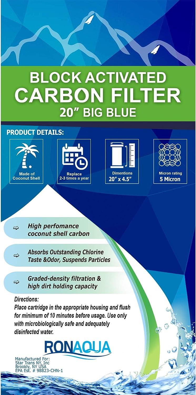 2 pcs Big Blue CTO Carbon Block Water Filters 4.5