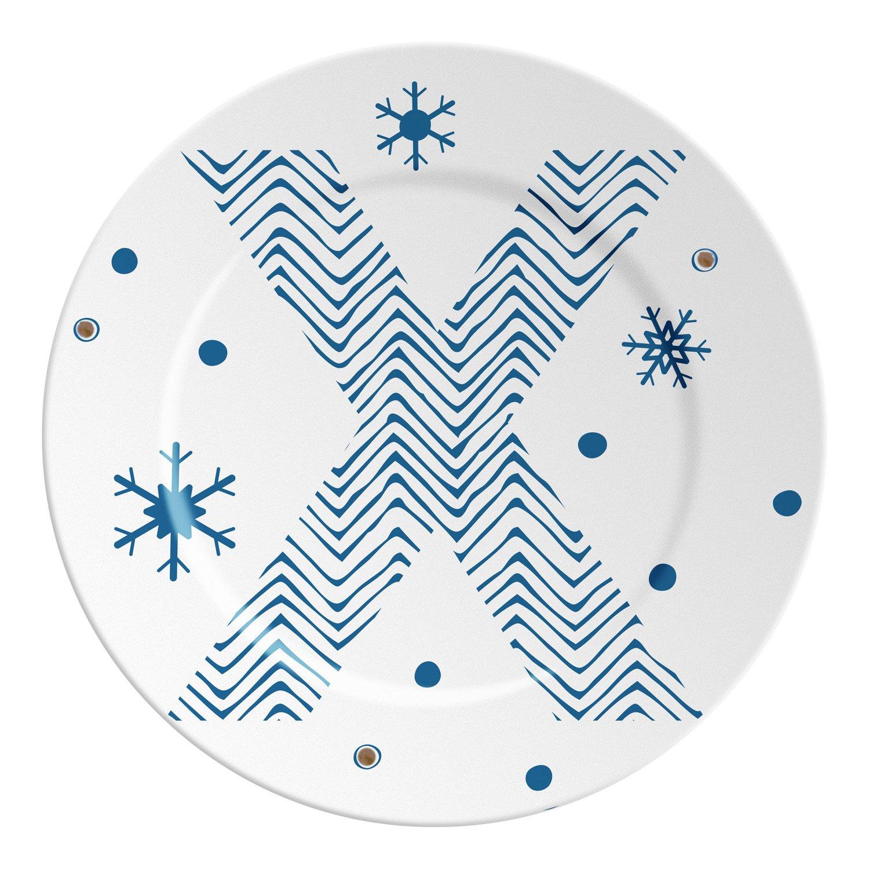 Ilaria.I ABC.SP.X Plato con Letra, Porcelana, Azul/Dorado, 16x 16x 1.5cm