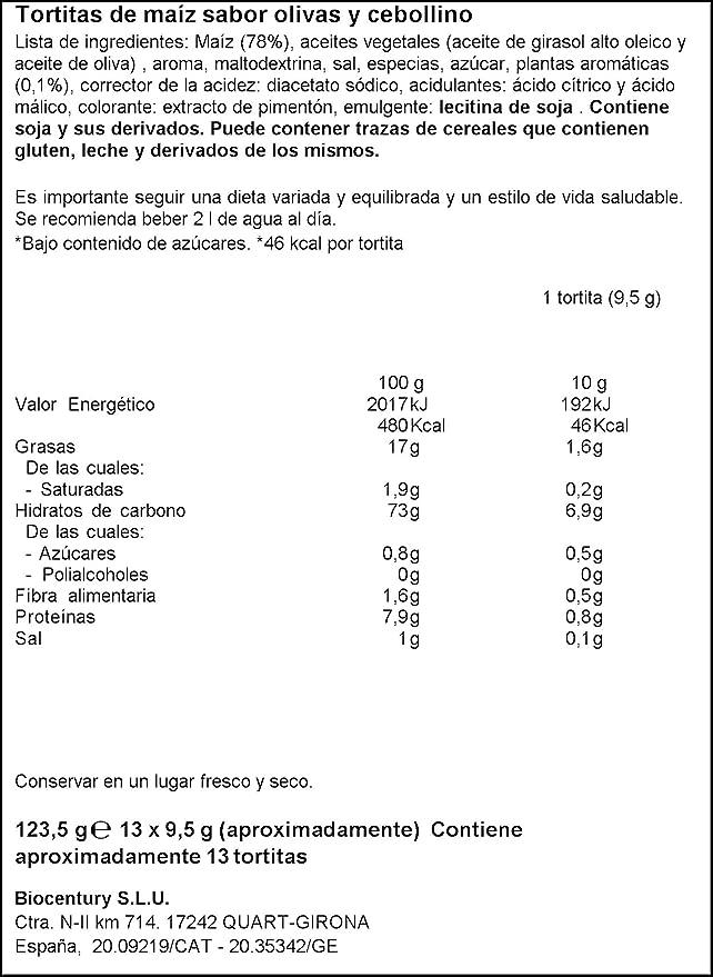 Bicentury - Tortitas De Maíz Oliva Y Cebollino - 130 g: Amazon.es: Alimentación y bebidas