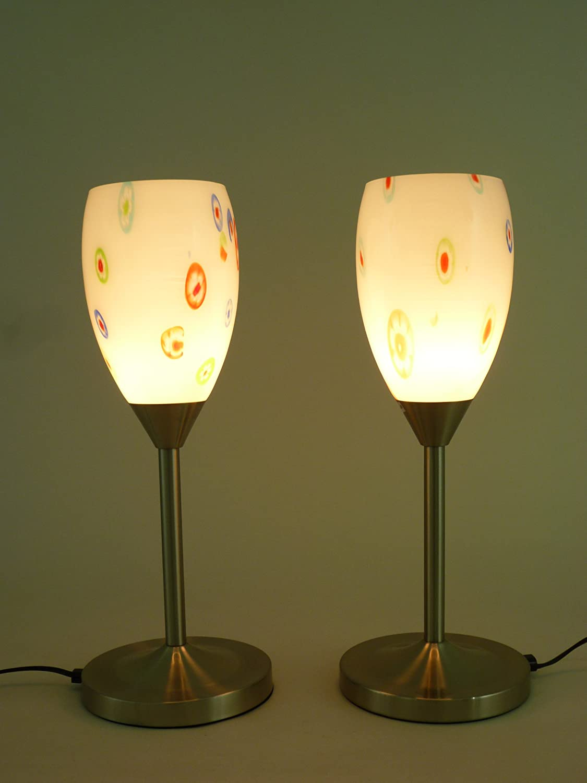 Hochwertige Tischleuchte Ernestine im 2er Set Nickel Glas Tischlampe Leuchte