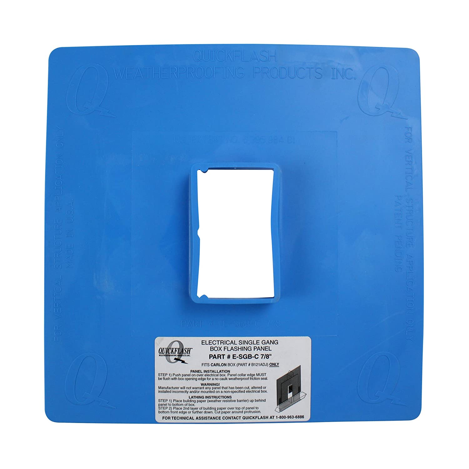 Sgb-A 7//8 QuickFlash Weatherproofing Products Inc. Quickflash Electrical Single Gang Box Flashing Panel E