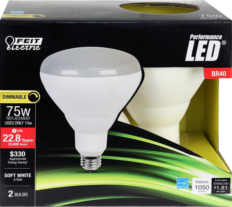 FEIT BR40DM75//LED//2 1050 Lumen 2700K LED BR40-2-PACK