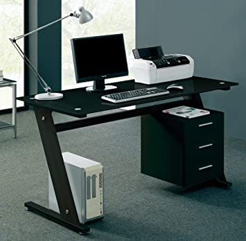 with pin black glass gamer contain exotic table computer furniture desk modern