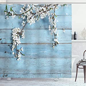 "Ambesonne Rustic Shower Curtain, Branch with Blooming Spring Flowers on Wooden Fragility of Spring, Cloth Fabric Bathroom Decor Set with Hooks, 84"" Long Extra, White Light Blue"