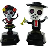 Milwood Brothers Halloween Party Day of The Dead Solar Powered Dancing Toys (Set of 2)