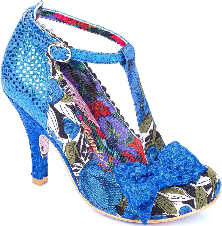 Irregular Choice Bloxy azul floral para mujer T Bar Hi Tacones Zapatos