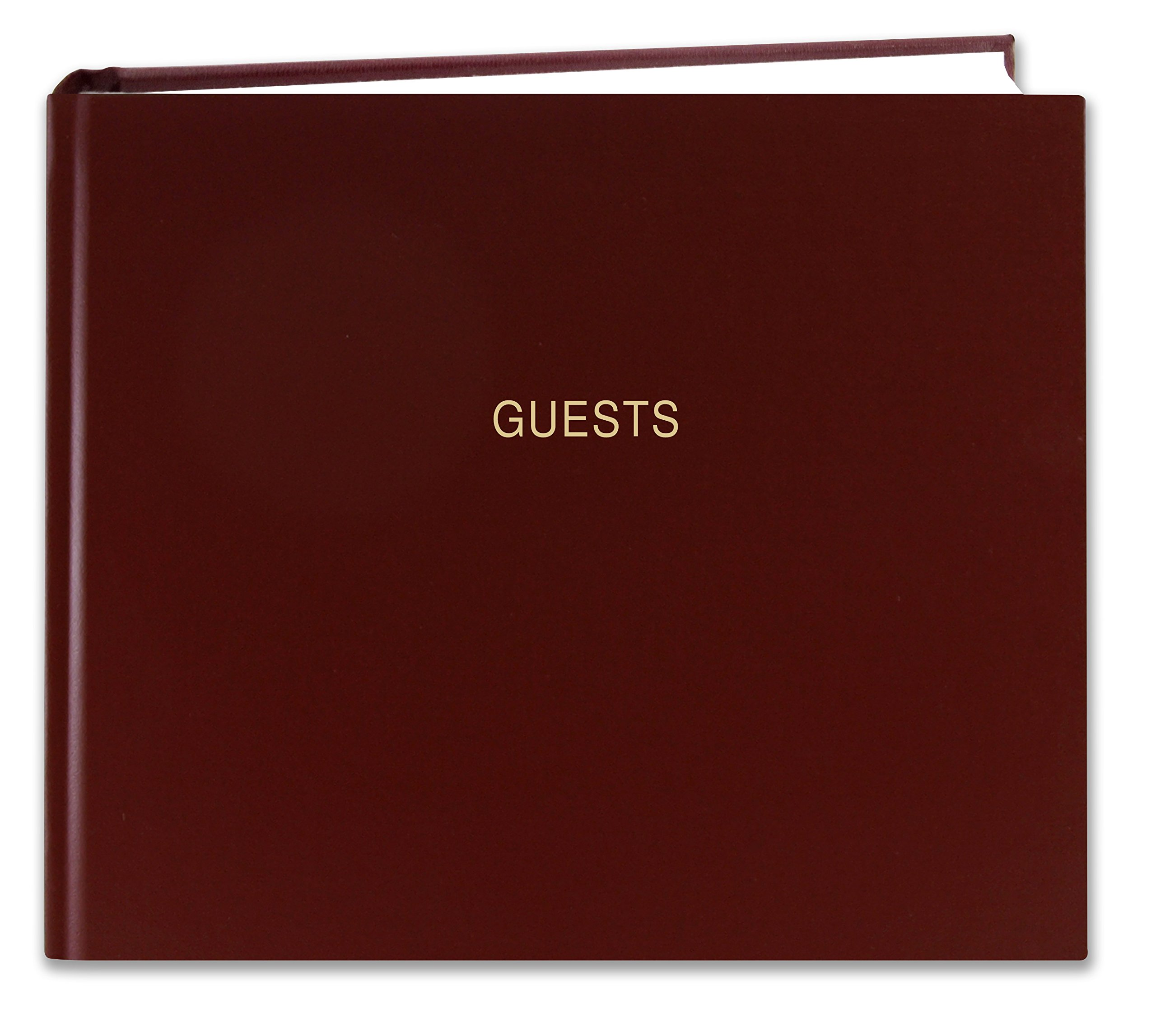 BookFactory Guest Book (120 pages) / Guest Sign-In Book / Guest Registry / Guestbook - Burgundy Cover, Smyth Sewn Hardbound, 8 7/8'' x 7'' (LOG-120-GUEST-A-LMT25)