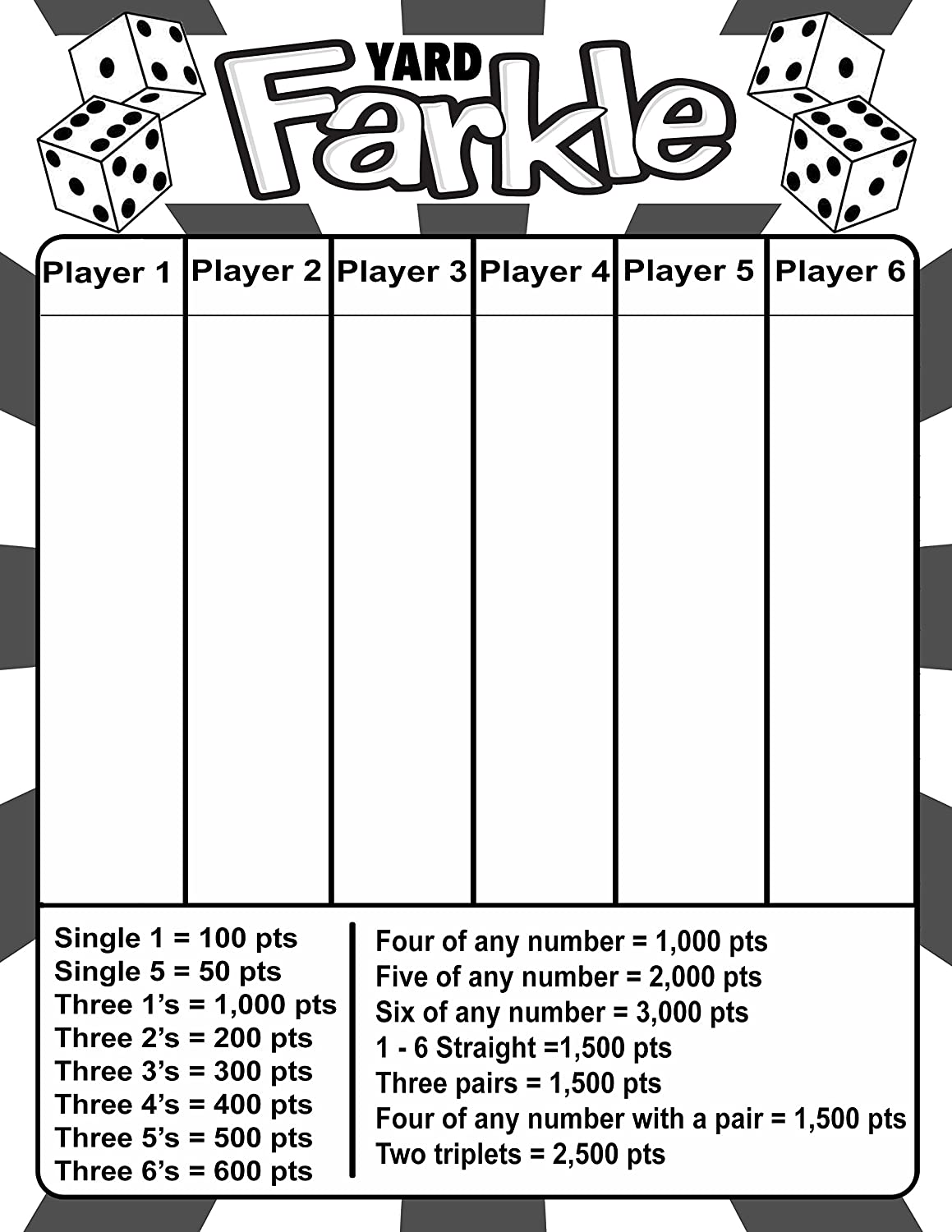 picture relating to Farkle Instructions Printable identified as : Laminated Backyard garden Farkle Scorecard, with