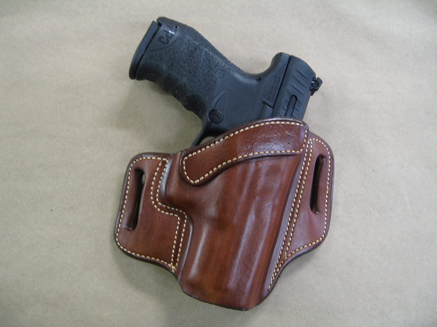 Azula OWB Leather 2 Slot Molded Pancake Belt Holster for Walther PPQ M1, M2  9mm /  40 CCW TAN RH