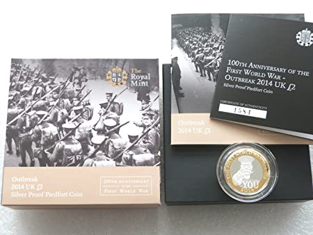 2014 First World War Kitchener Piedfort 2 Two Pound Silver Proof Coin Box Coa By