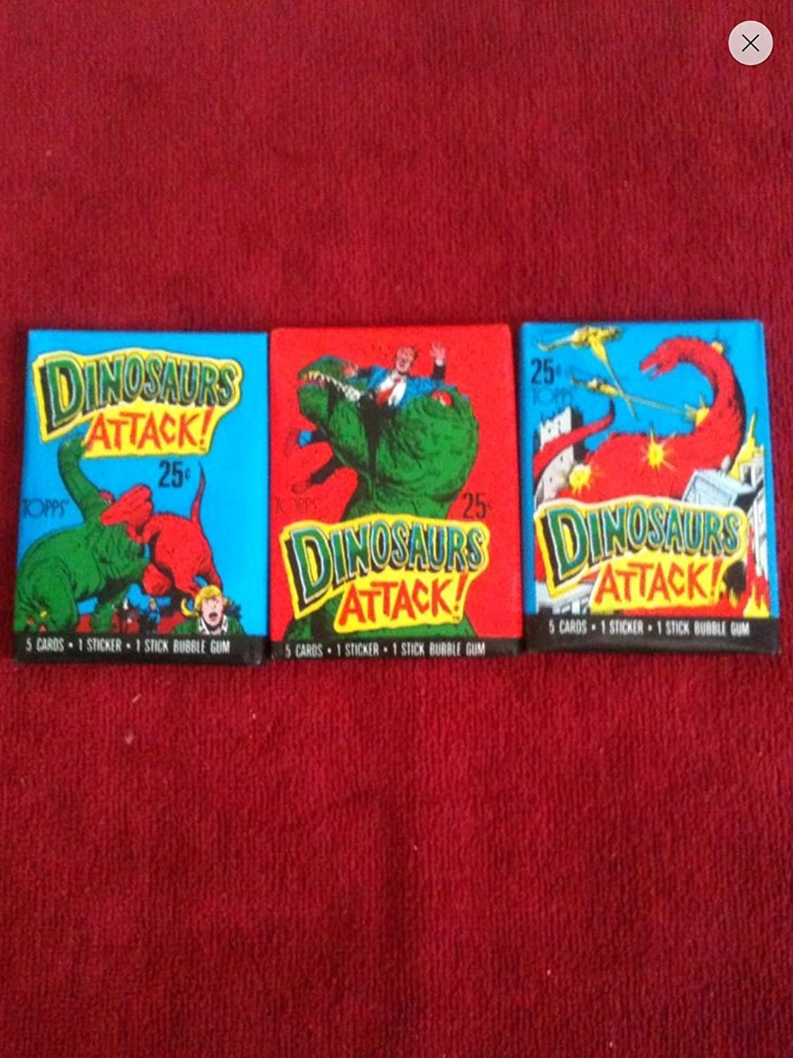 Dinosaurs Attack 1988 Vintage Trading Cards (3) Unopened Packs Topps Non--sport