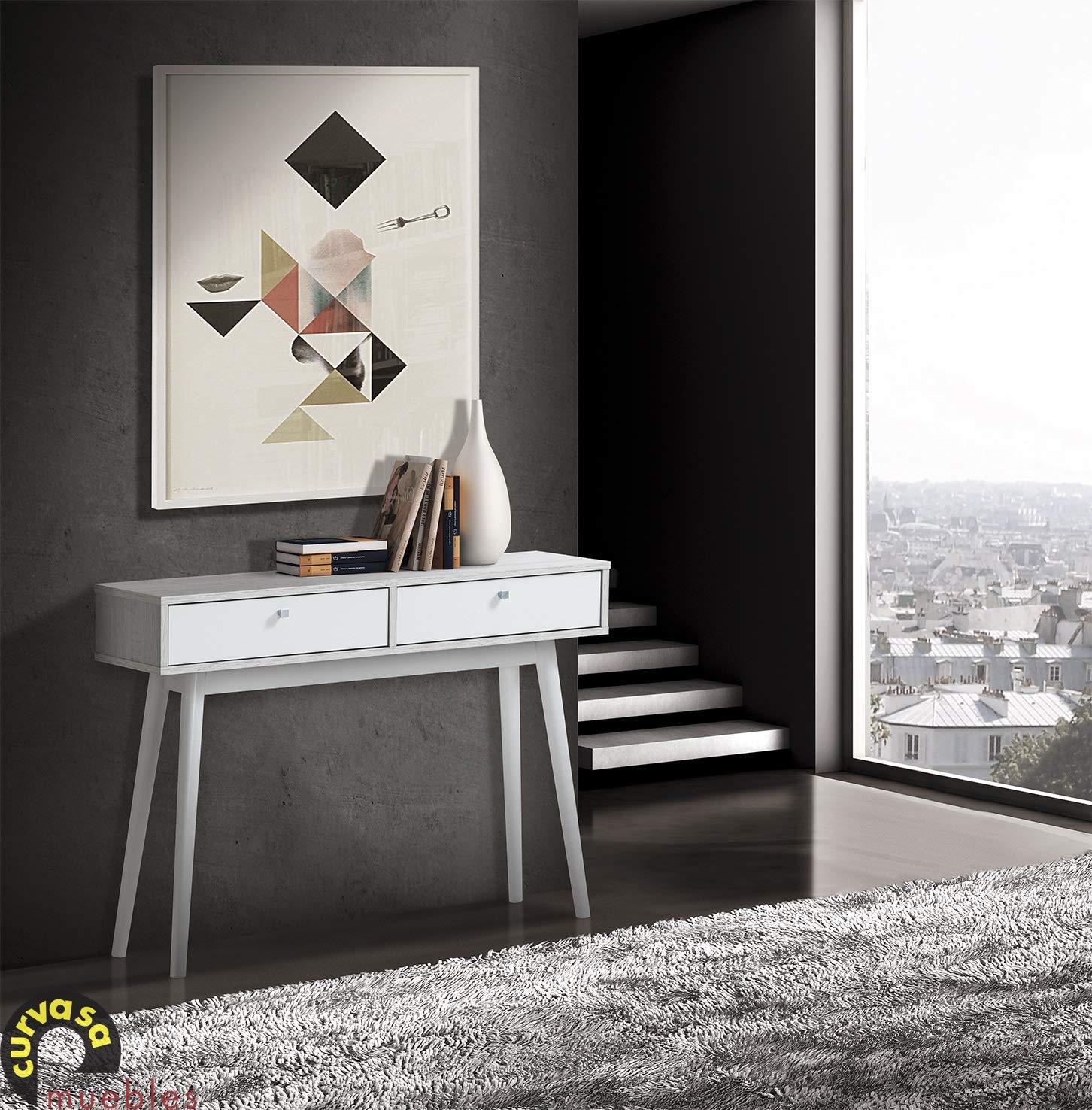 Curvasa - Recibidor Consola Roble Blanco 100 x 32 x 75 con Dos Cajones Harmony