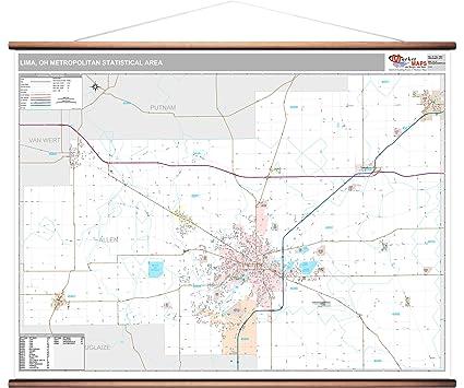 Lima Ohio Zip Code Map.Amazon Com Marketmaps Lima Oh Metro Area Wall Map 2018 Zip