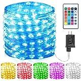 GDEALER 100 Led 16 Colors String Lights Multi Color Change String Lights Christmas Lights Remote Fairy Lights 33ft…