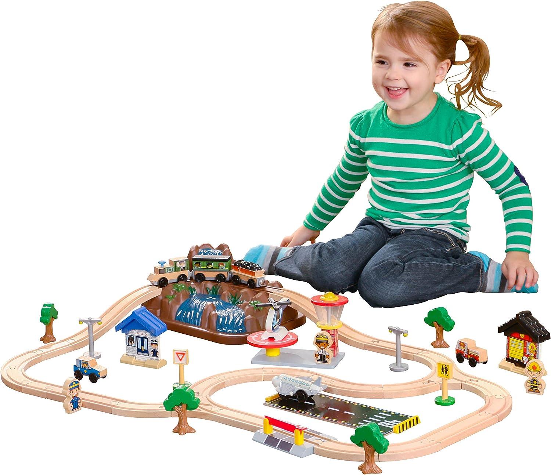 KidKraft 17826 Set circuito de tren de juguete de madera Top Mountain 61 piezas