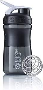 BlenderBottle SportMixer Tritan Grip Shaker Bottle, Transparent Black/White, 20-Ounce