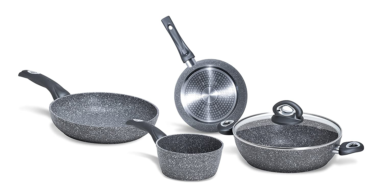Bialetti Induction y0 °C6set005 Madame Petra 2.0 Battery Set 20/24 cm and Saucepan 16 cm Saucepan and 24 cm Frying Pan/Lid 24 cm Aluminium Grey Y0C6SET005