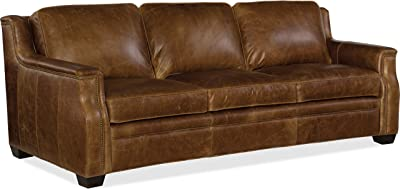 Hooker Furniture Yates Leather Sofa in Buckaroo Colt