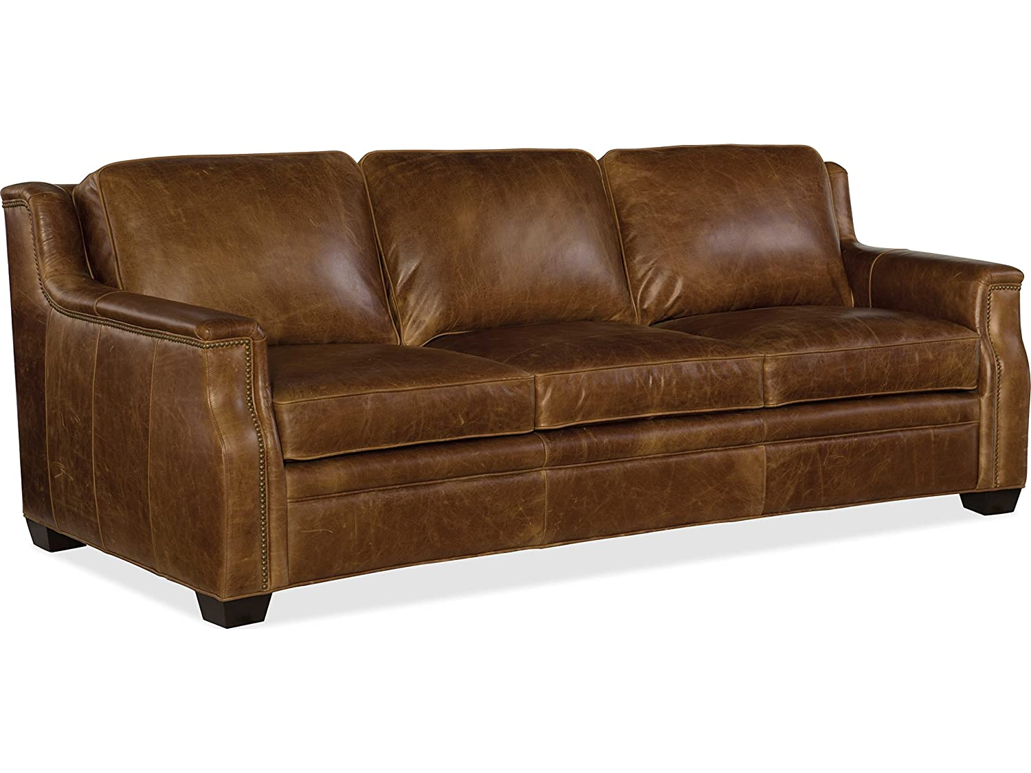 Amazon.com: Hooker Furniture Yates Leather Sofa in Buckaroo Colt ...