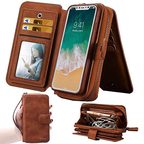 newest 0f446 6eefd iPhone X Edition Women's Case,iPhone X Wallet Case, 12 Card Slots Card  Slots Money Pocket Clutch Cover Zipper Wallet Purse Back Handle Magnetic ...