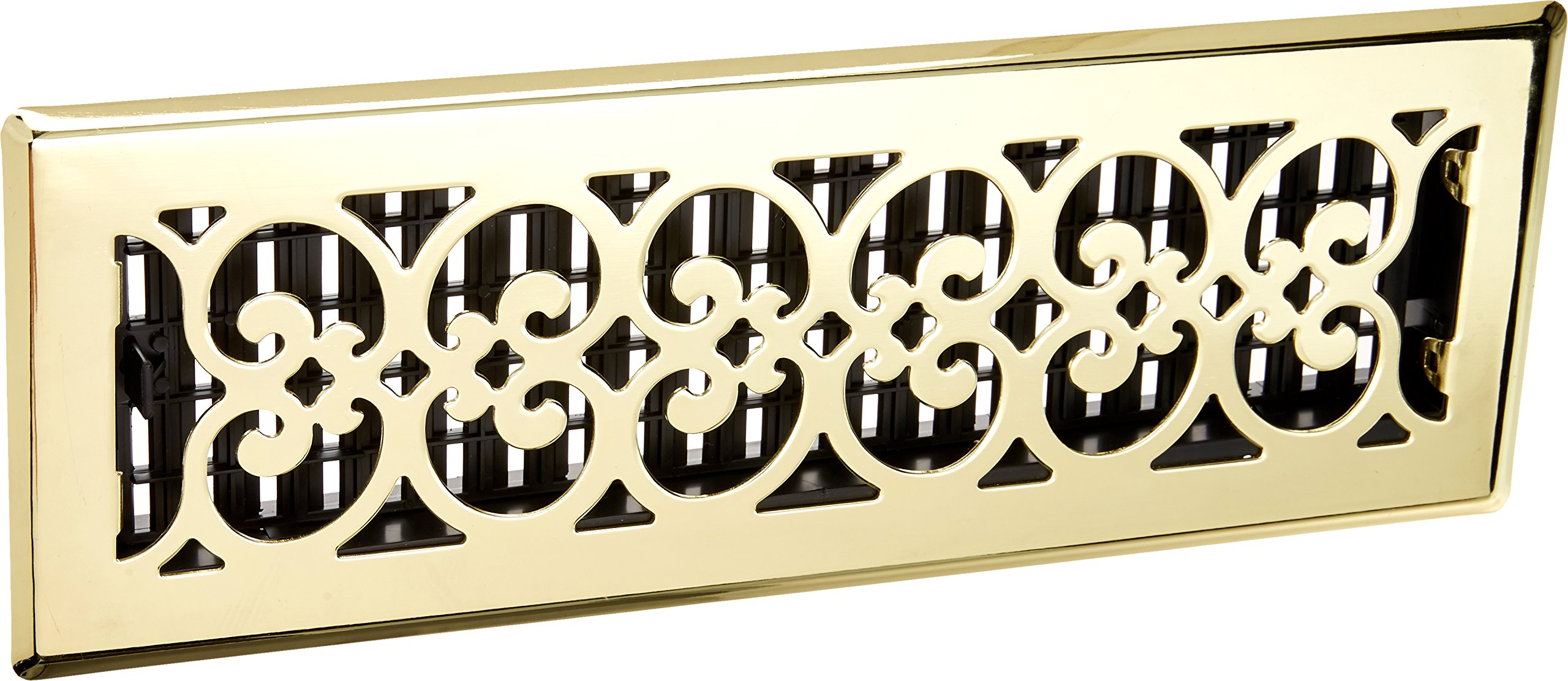 Decor Grates SPH414 4-Inch by 14-Inch Scroll Floor Register, Polished Brass Finish