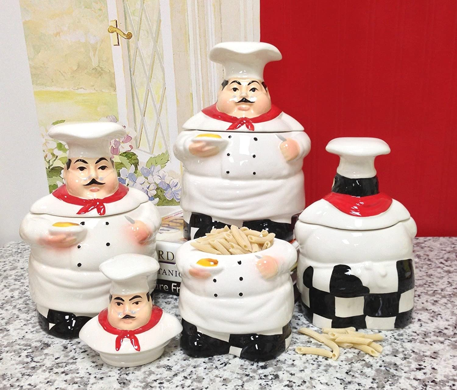 Amazon Bistro Fat Chef Canister Set Ceramic Kitchen Decor