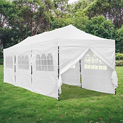 Klismos 10X30 FT Pop Up Canopy Tent Commercial Heavy Duty 420D Thicken Outdoor Party Tent Instant Gazebo with Removable Sidewalls and Doors(White) : Garden & Outdoor