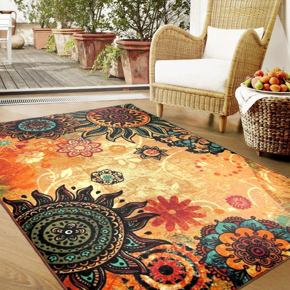 MeMoreCool Boho Area Rugs Retro Floral Home Living Mats Protective Decorative Carpets 1PC 52 X 75 Inch