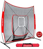 PowerNet DLX 7x7 Baseball and Softball Practice Net (Bundle with Strike Zone and Training Ball)