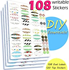 108 Fancy Hand Written Labels Balm Labels Jars Stickers for Essential Oils Roller Bottles, 4 Sheets with 108 Oval Plus 120 Top Stickers