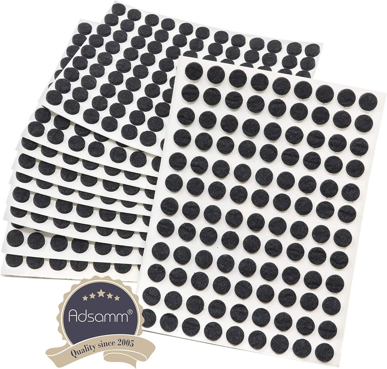 Adsamm/® 1080 x almohadillas de fieltro con grosor de 3,5 mm de la m/áxima calidad negro /Ø 10 mm Protectores de suelo para patas de mueble redondo auto-adhesivos