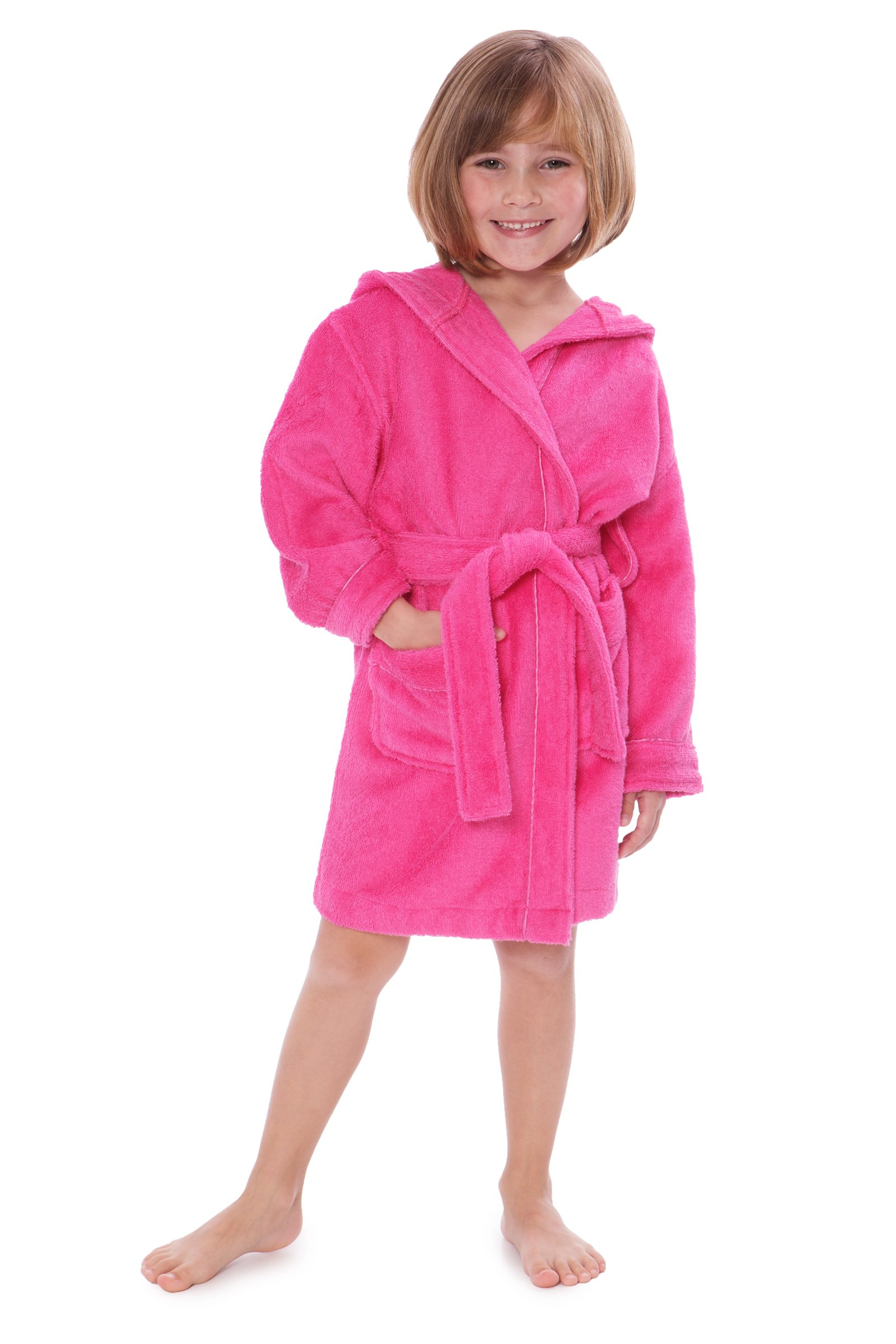 Kid's Hooded Terry Cloth Bathrobe - Cozy Robe by for Kids Texere (Rub-A-Dub, French Rose, Large) Best Gifts for Son Daughter KB0101-FRR-L