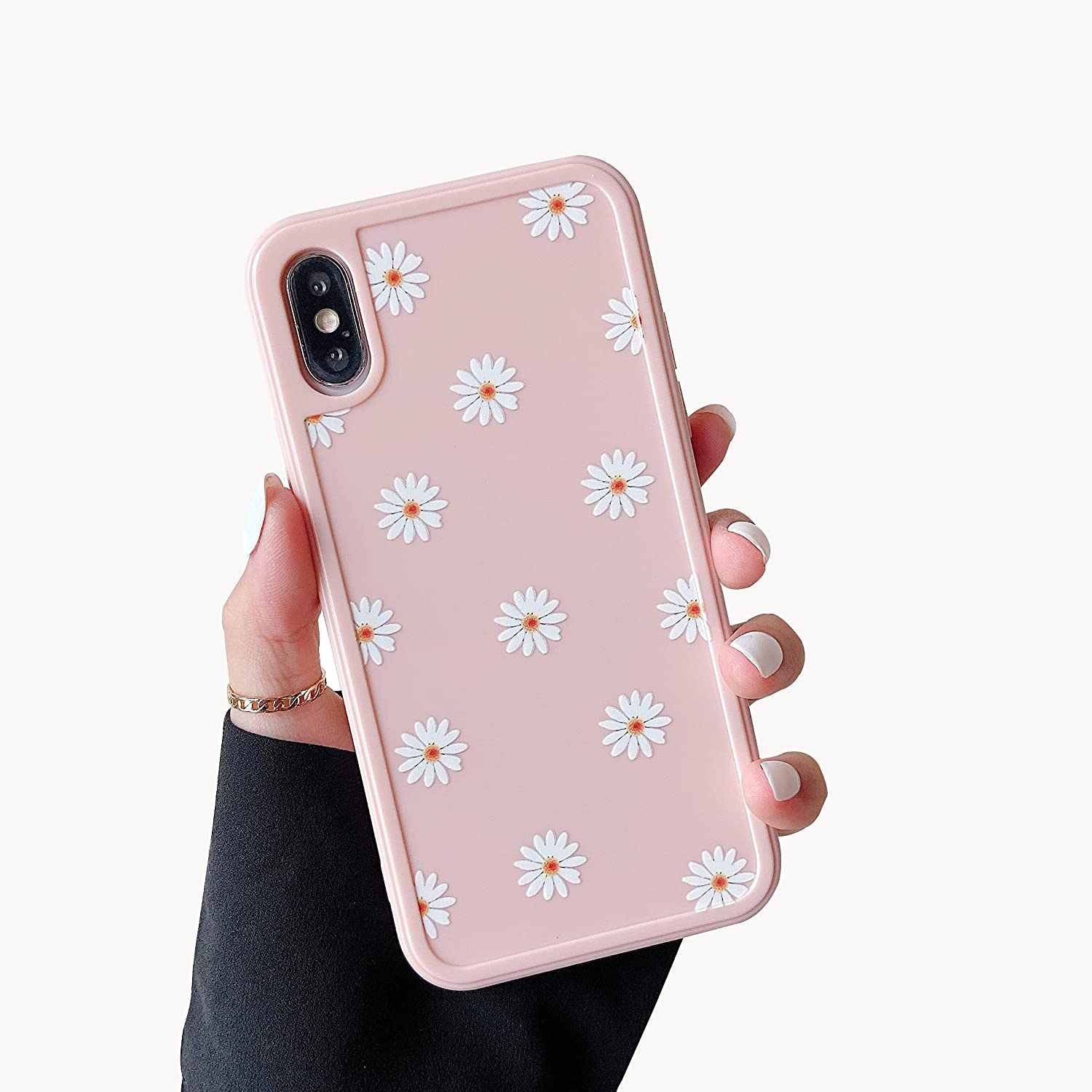 ZTOFERA TPU Back Case for iPhone X/iPhone Xs, Daisy Pattern Glossy Soft Silicone Case, Cute Girls Case Slim Lightweight Protective Bumper Cover for iPhone X/iPhone Xs - Pink