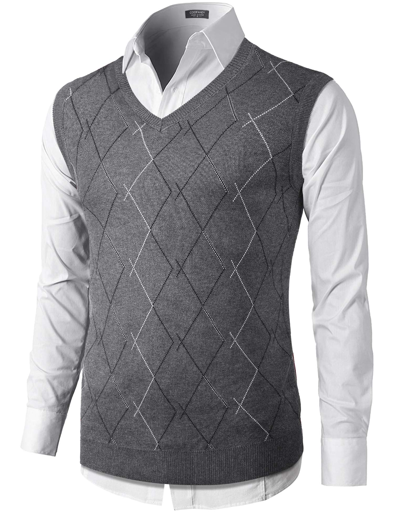 COOFANDY Mens Business Sleeveless Warm Pullover Sweaters with Ribbing Edge Grey by COOFANDY