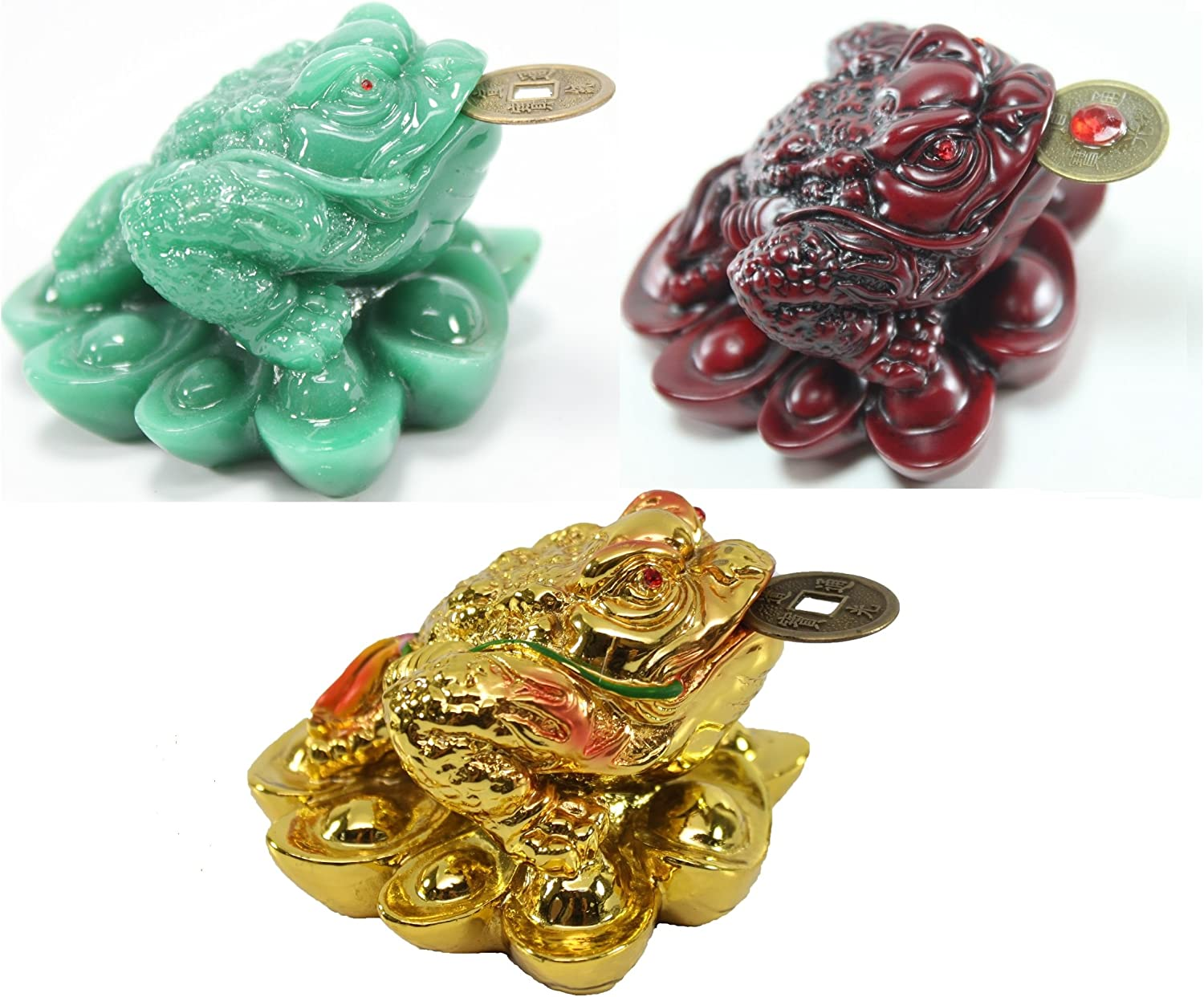 1 Red 1 Green 1 Gold Fortune Coin Money Toad/Frog/Chan Chu~ Feng Shui Chinese Charm of Prosperity Decoration Gift