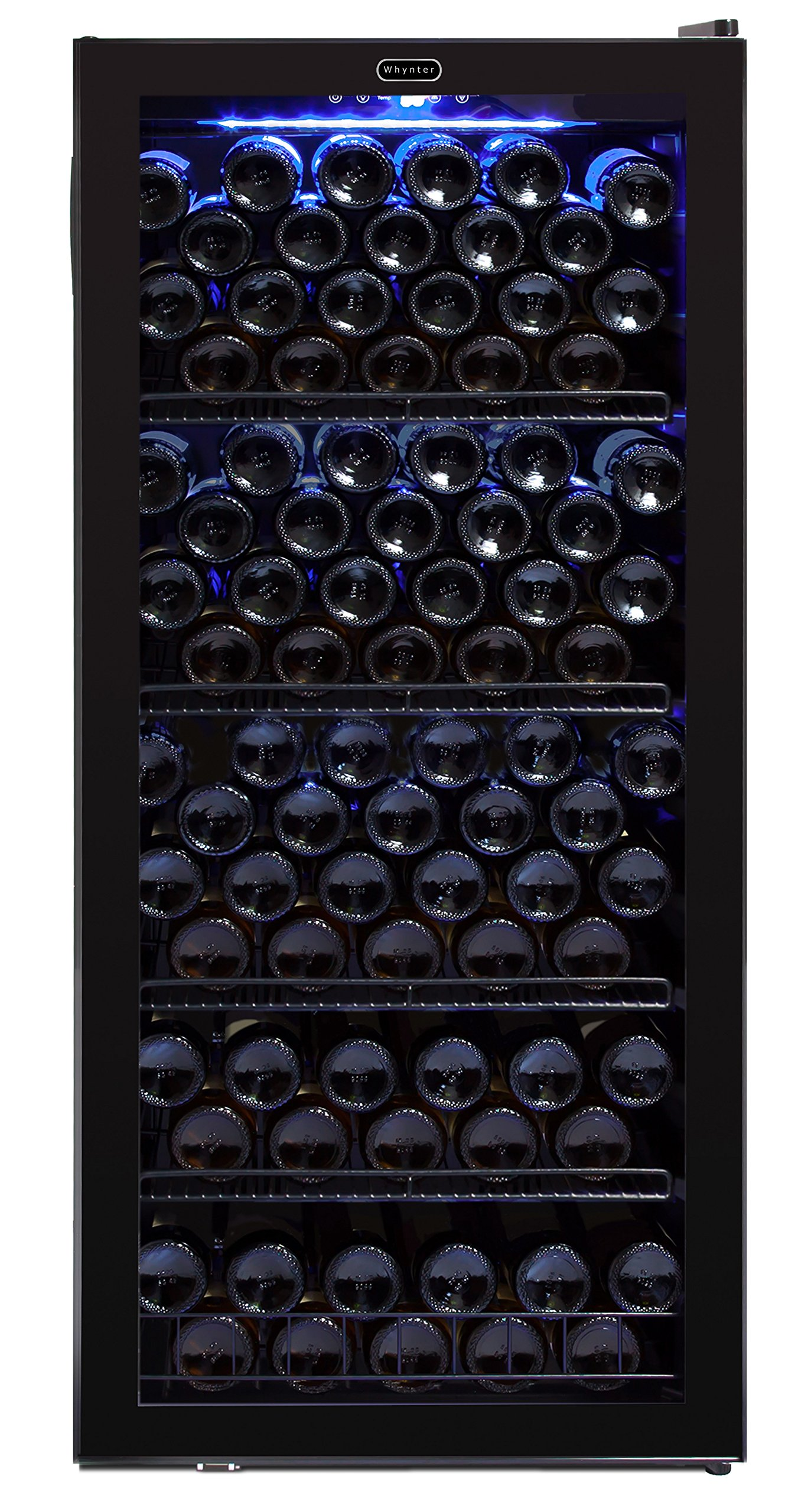 Whynter FWC-1201BB 124 Bottle Freestanding Cabinet Wine Refrigerators Built in and Free Standing, One Size, Black