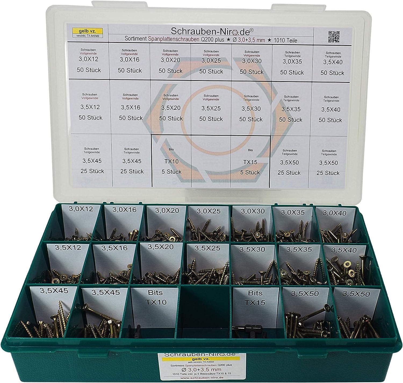 Durchmesser 3,0 bis 6,0 mm Holzschrauben mit Senkkopf Sortiment//Set Spanplattenschrauben Torx verzinkt gelb