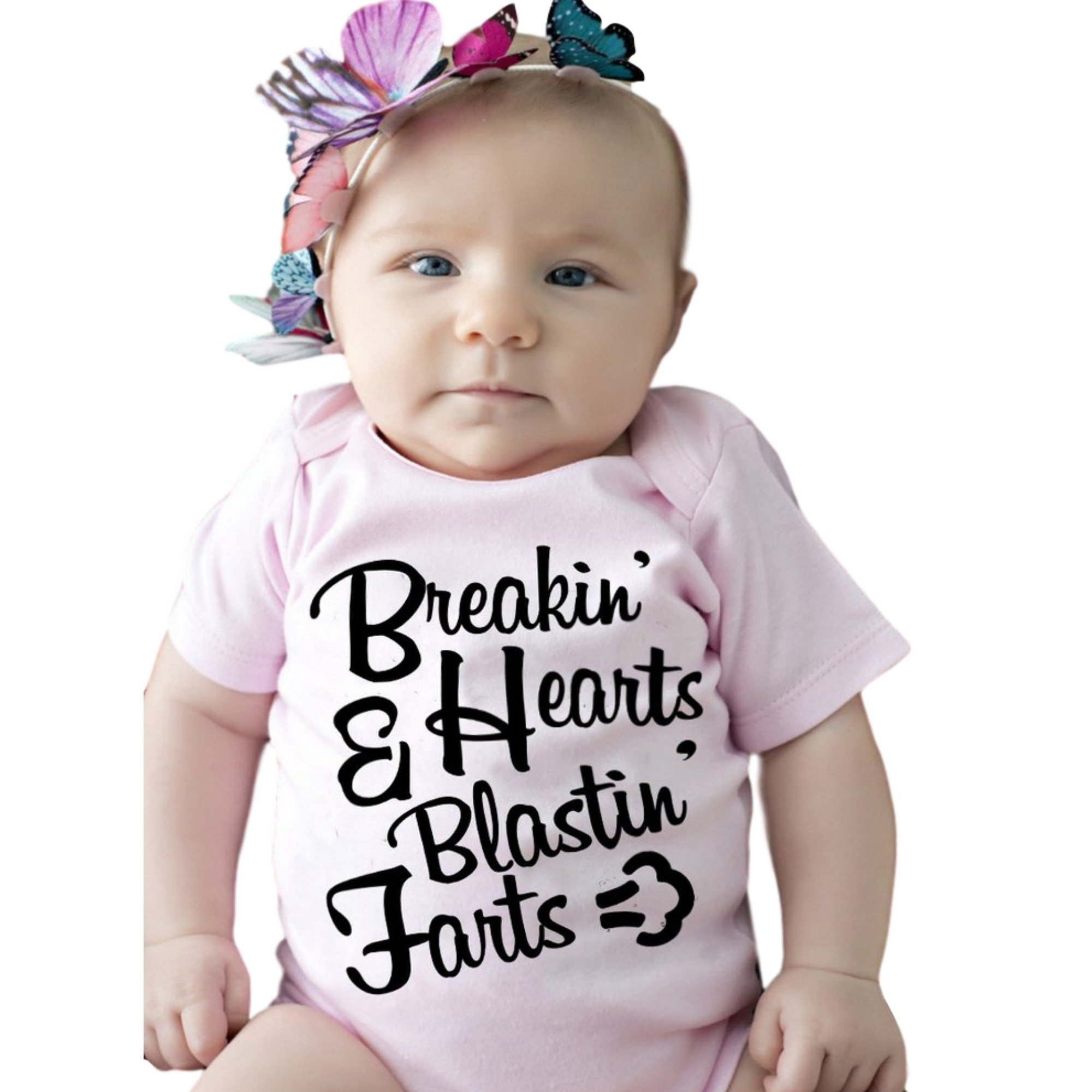 Breakin' Hearts & Blastin' Farts Funny Baby Onesie Short Sleeve Pink Cute Cool Unique Baby Gift (6-12M)