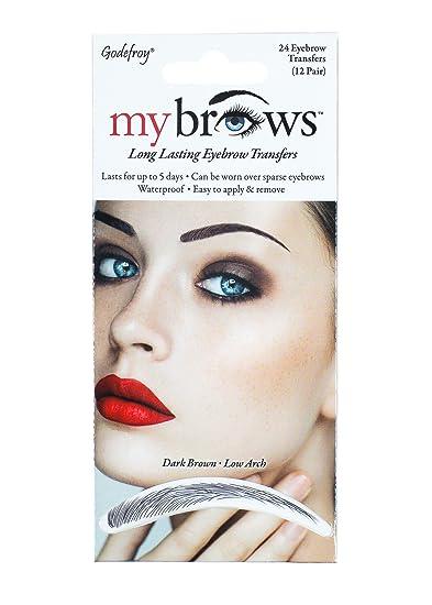 Amazon.com : Godefroy Mybrows Low Arch Eyebrow Tattoo, Dark Brown, 1 ...