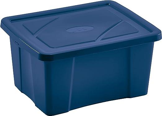 mondex PLS418-25 - Caja de almacenaje con Tapa para Mantas, plástico Transparente, 58,5 x 38,5 x 31 cm, 48 l, plástico, Azul, 48 L: Amazon.es: Hogar