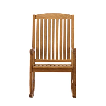SEI Southern Enterprises Teak Wood Porch Rocking Chair, Unstained Teak  Finish