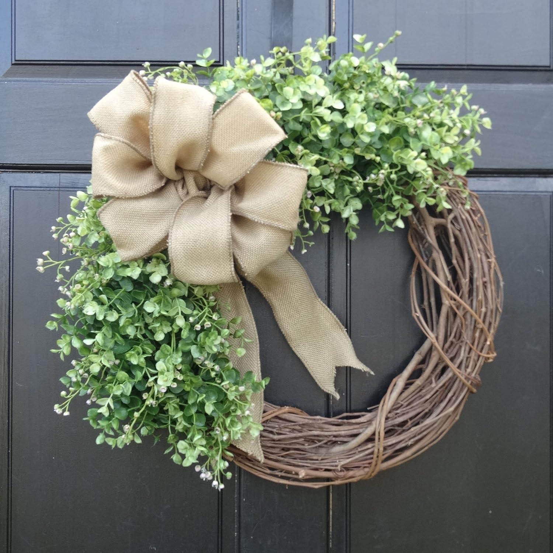 Amazon Com Eucalyptus Greenery Grapevine Wreath With Burlap Bow For Fall Summer Spring Year Round Farmhouse Front Door Decor Handmade