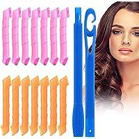 URAQT Haarkrulspelden Styling Kit, 14 Stks Warmteloose Spiraalvormige Krulspelden, Wave Stijl Haarrollen met Styling…